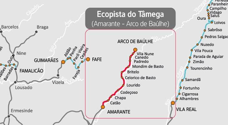 mapa para ciclista em portugal